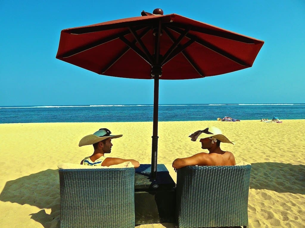 04 Enjoying the private beach of the St Regis hotel at Nusa Dua, Bali, Indonesia, September 2015