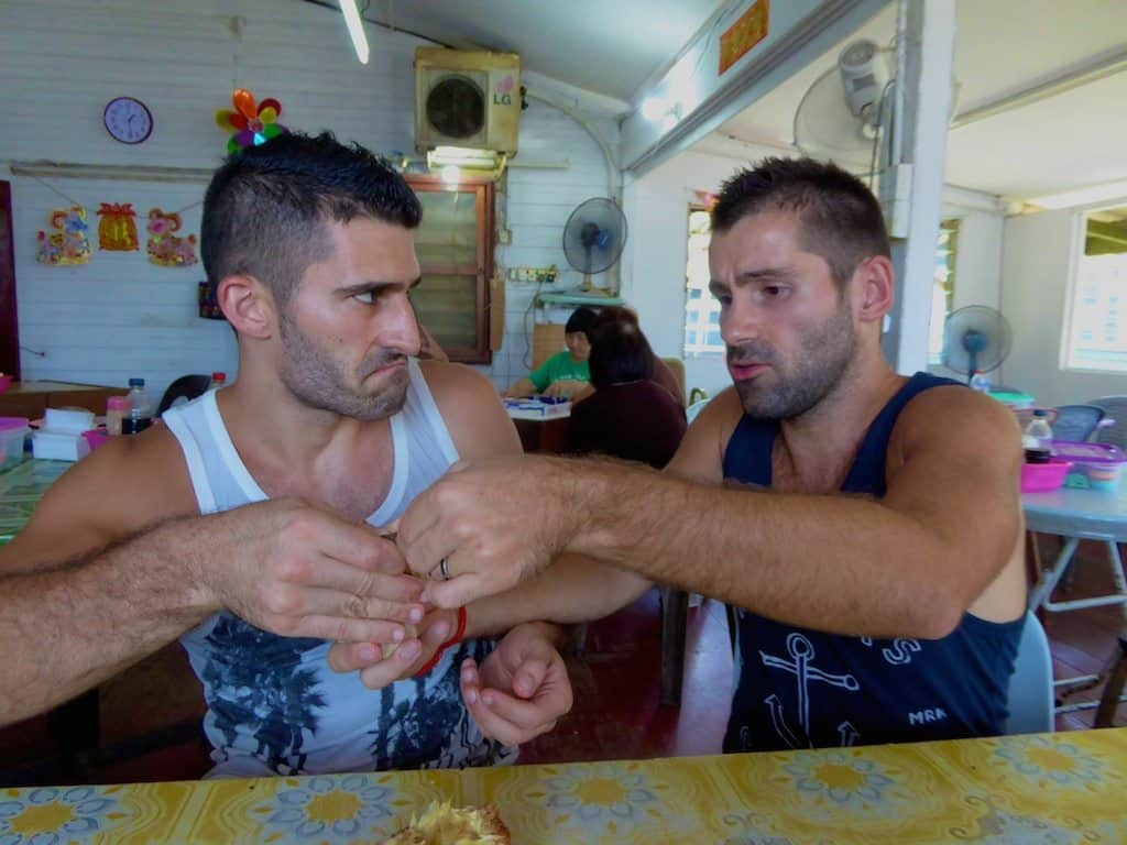 05 Fighting over tarap fruit in Sandakan, Borneo Malaysia, August 2014