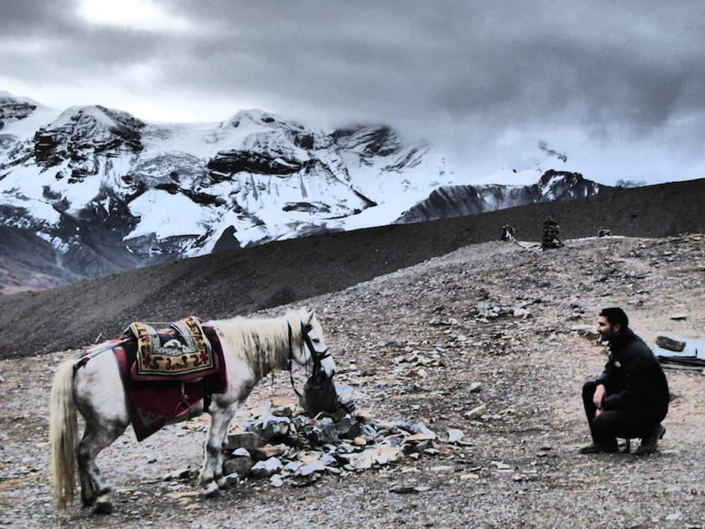 10 Stefan with horse at Thorung La Pass, Nepal, October 2014