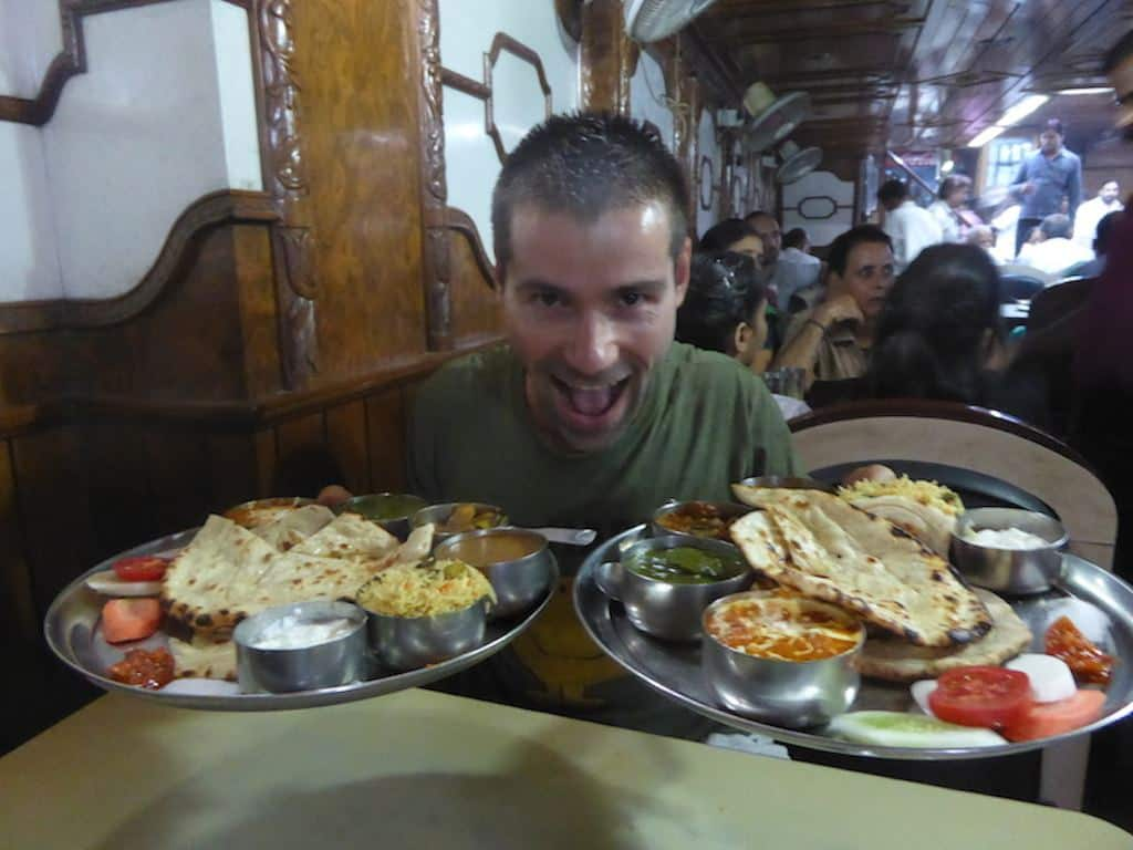 15 Greedy Seby with two Indian Thali sets in Varanasi, India, November 2014