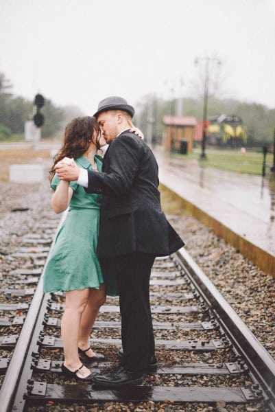 vintage engagement dance train tracks 2