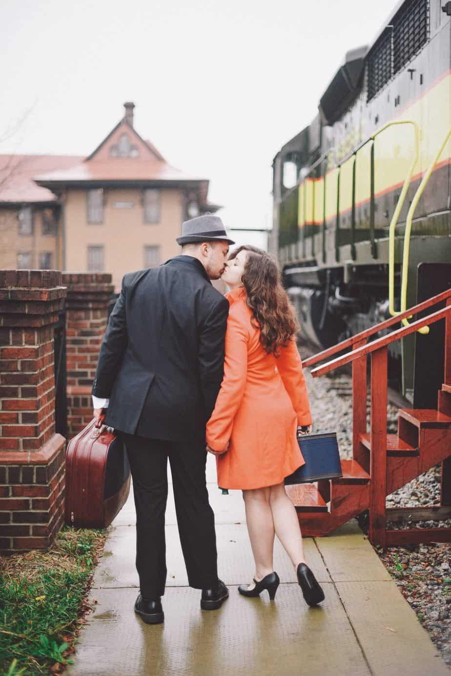 vintage travel engagement train