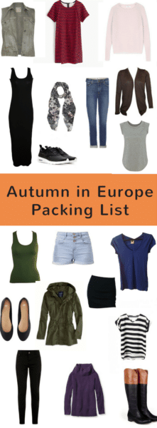Autumn in Europe Packing List